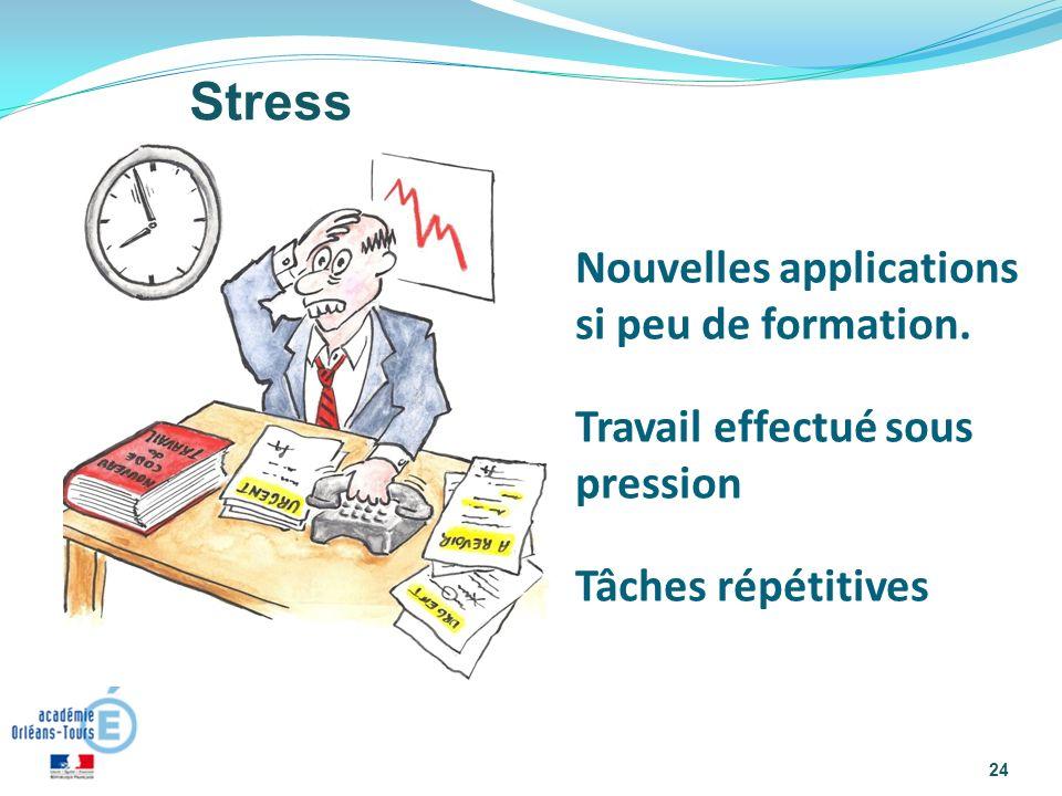 Stress Nouvelles applications si peu de formation.
