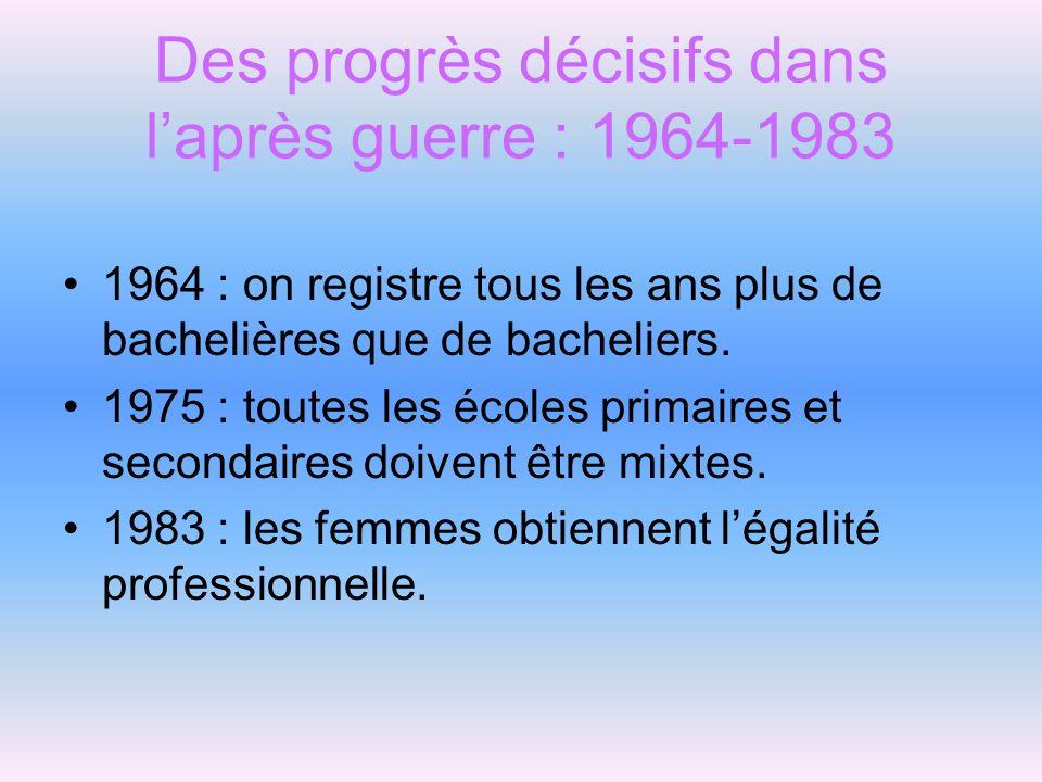 Des progrès décisifs dans l'après guerre : 1964-1983