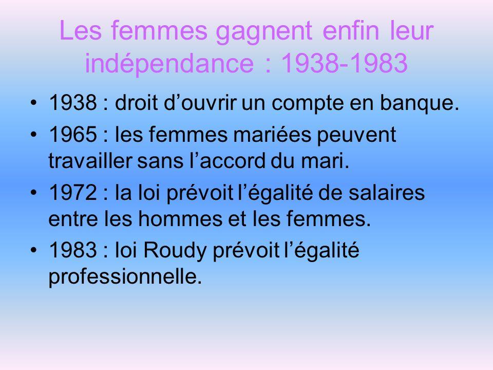 Les femmes gagnent enfin leur indépendance : 1938-1983