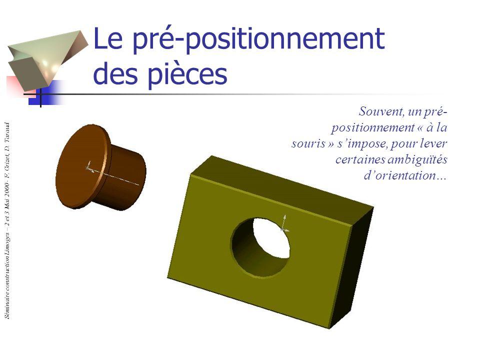 Le pré-positionnement des pièces