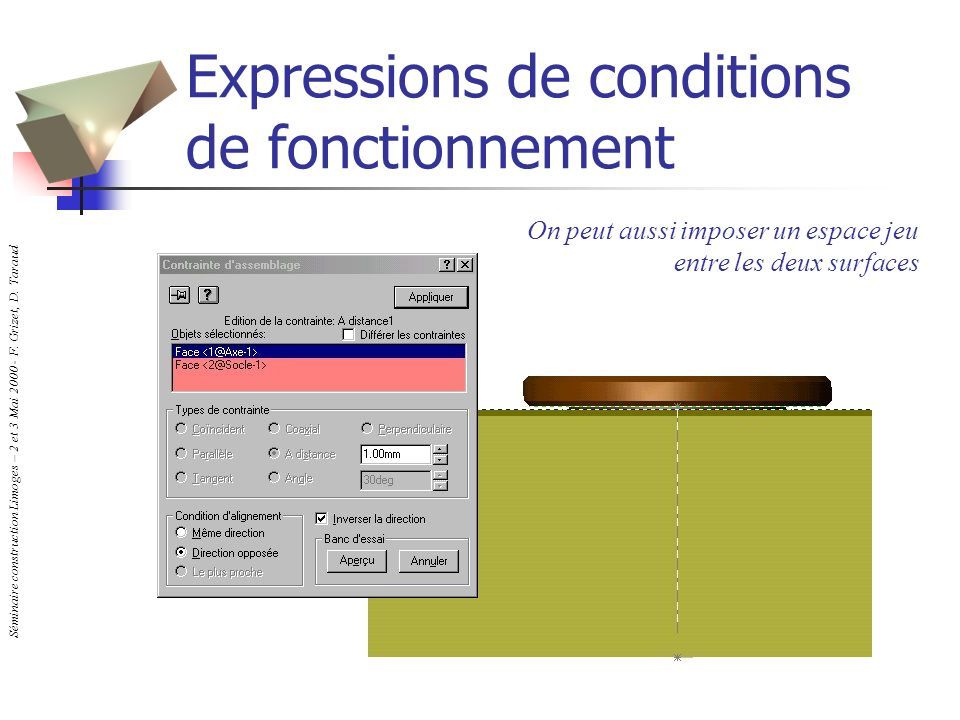 Expressions de conditions de fonctionnement