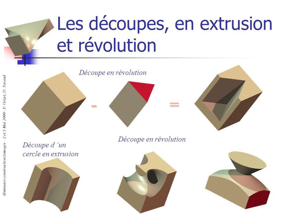 Les découpes, en extrusion et révolution