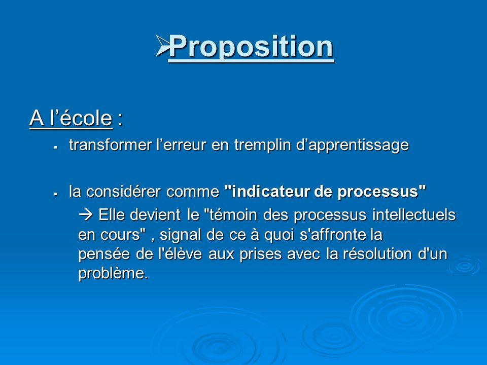Proposition A l'école :