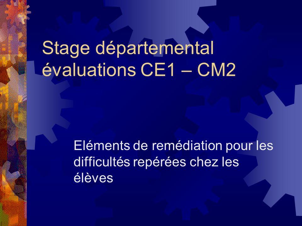 Stage départemental évaluations CE1 – CM2