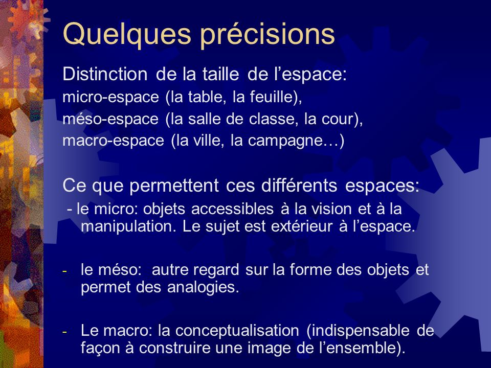 Quelques précisions Distinction de la taille de l'espace: