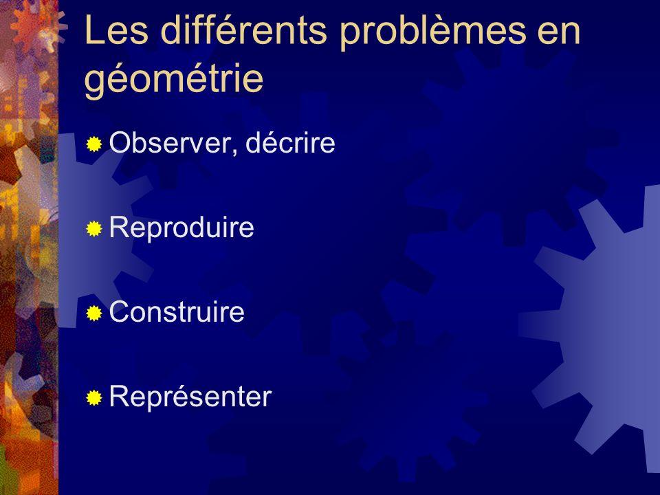Les différents problèmes en géométrie