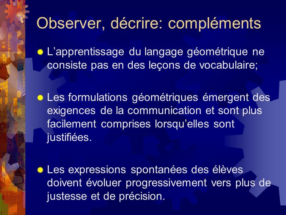 Observer, décrire: compléments