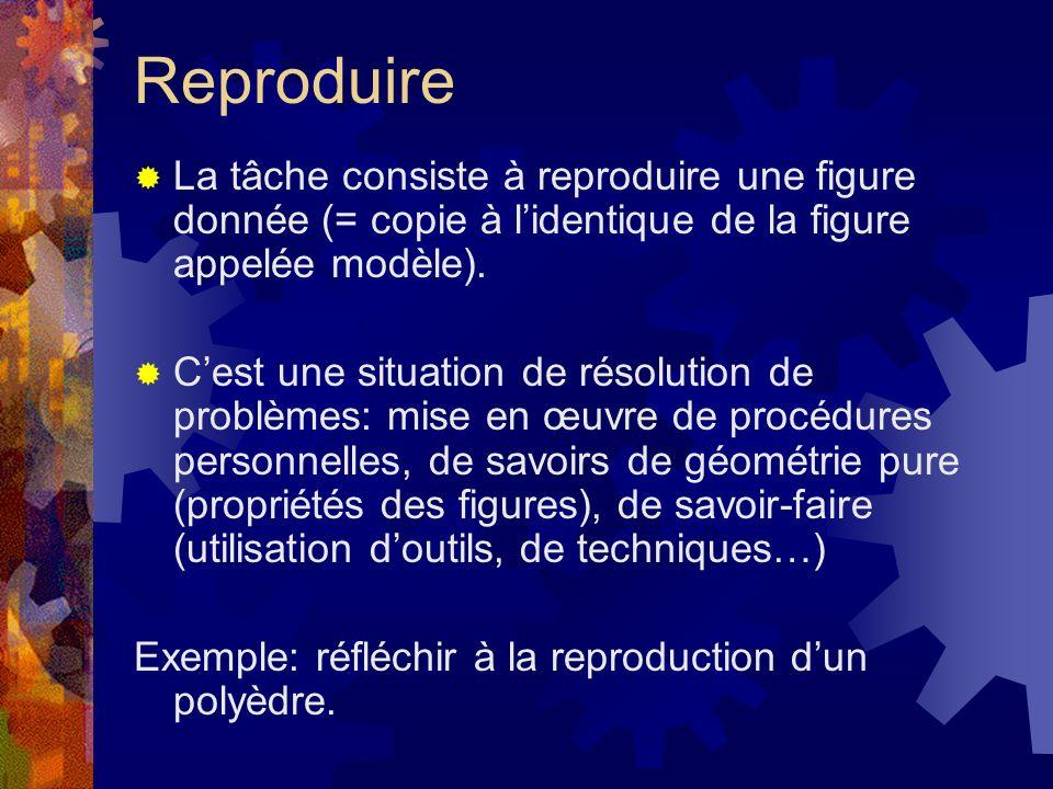 Reproduire La tâche consiste à reproduire une figure donnée (= copie à l'identique de la figure appelée modèle).