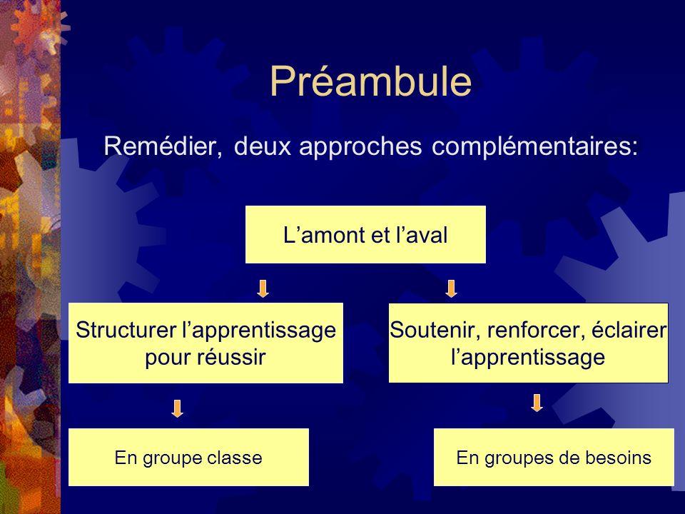 Préambule Remédier, deux approches complémentaires: L'amont et l'aval