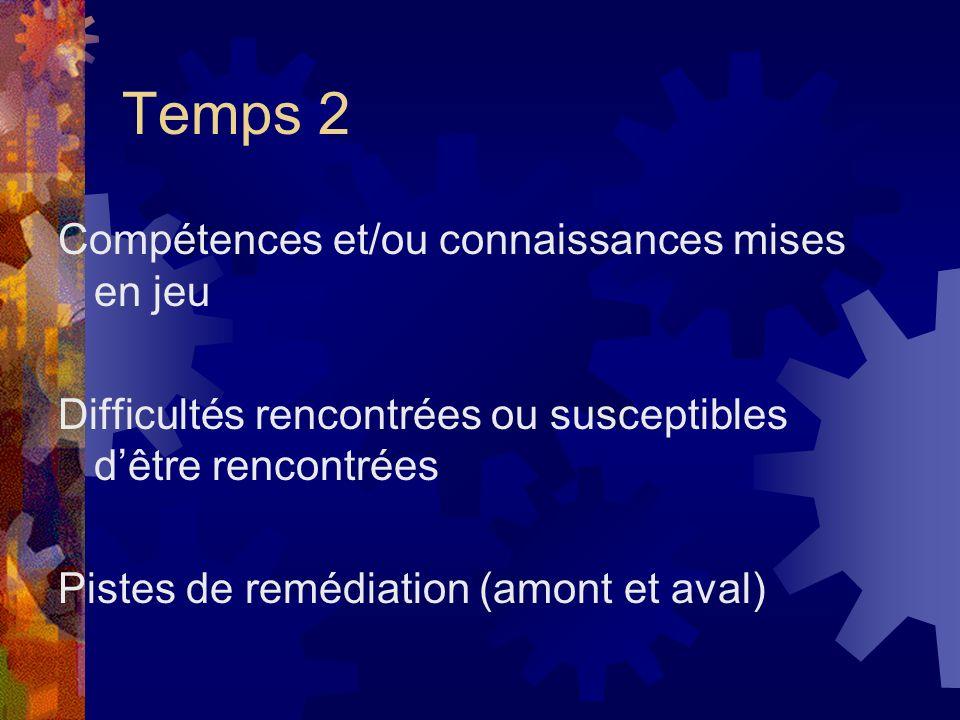 Temps 2 Compétences et/ou connaissances mises en jeu