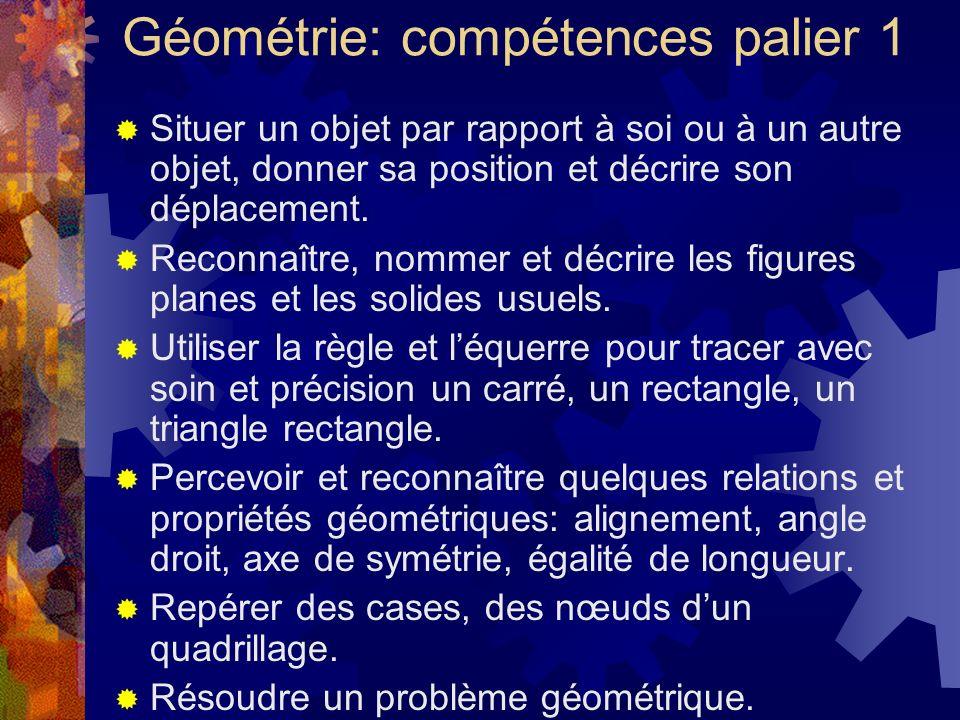 Géométrie: compétences palier 1