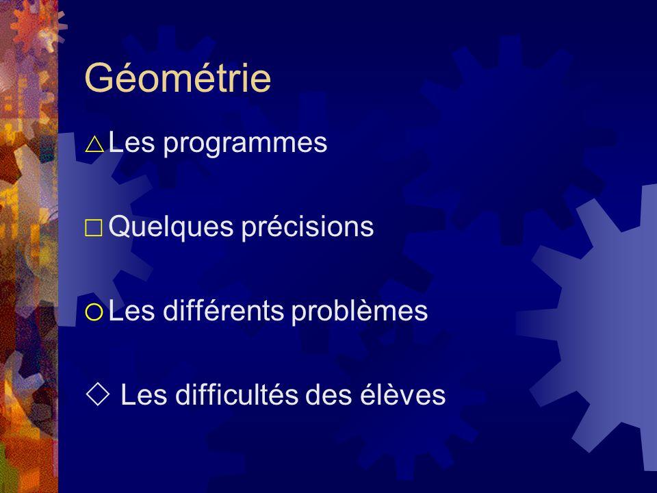 Géométrie Les programmes Quelques précisions Les différents problèmes