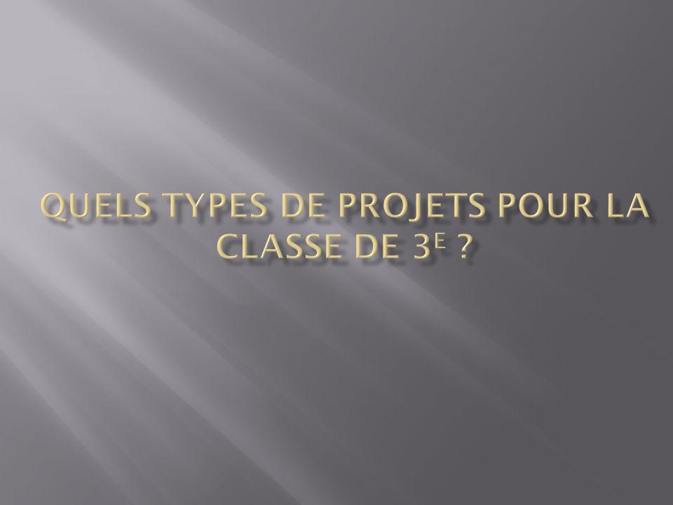 Quels types de projets pour la classe de 3e