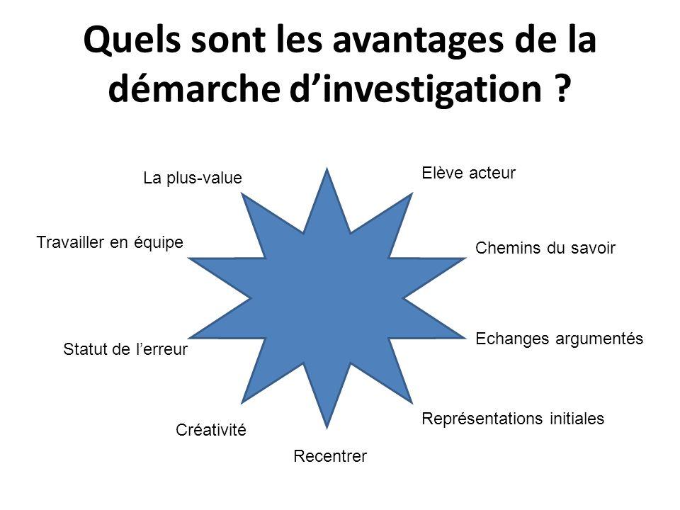 Quels sont les avantages de la démarche d'investigation