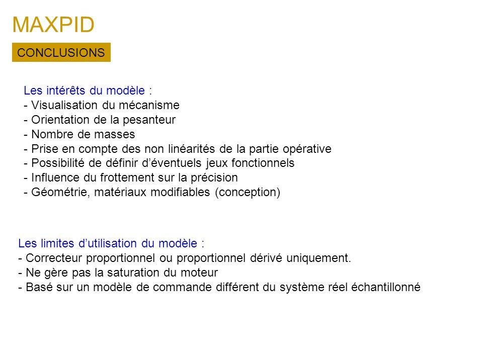 MAXPID CONCLUSIONS Les intérêts du modèle :
