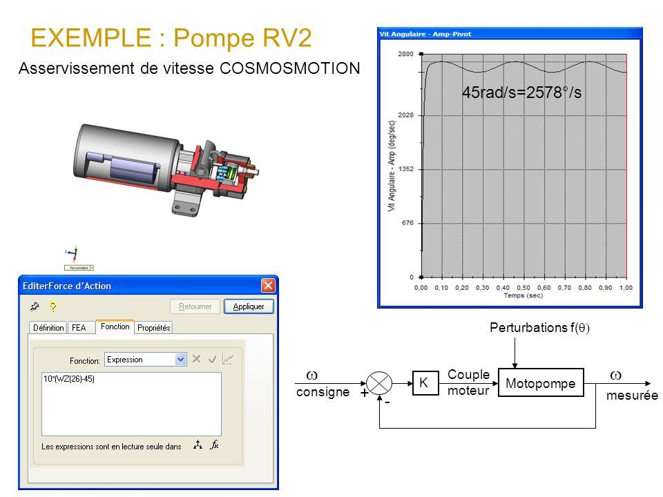 EXEMPLE : Pompe RV2 w Asservissement de vitesse COSMOSMOTION