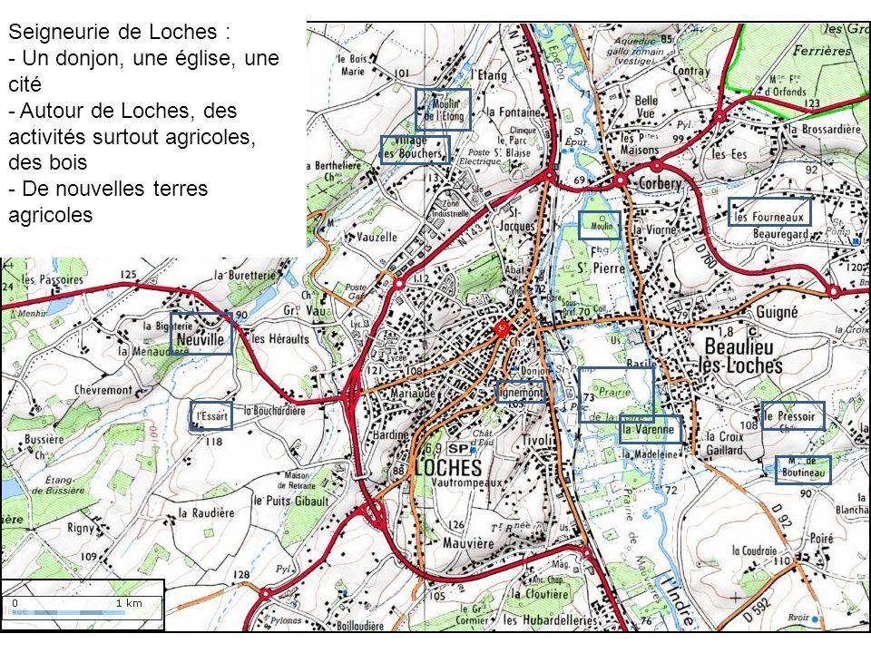 Seigneurie de Loches : - Un donjon, une église, une cité. Autour de Loches, des activités surtout agricoles, des bois.