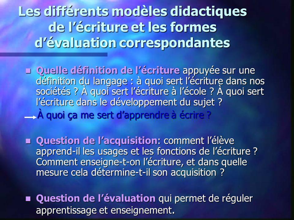 Les différents modèles didactiques de l'écriture et les formes d'évaluation correspondantes