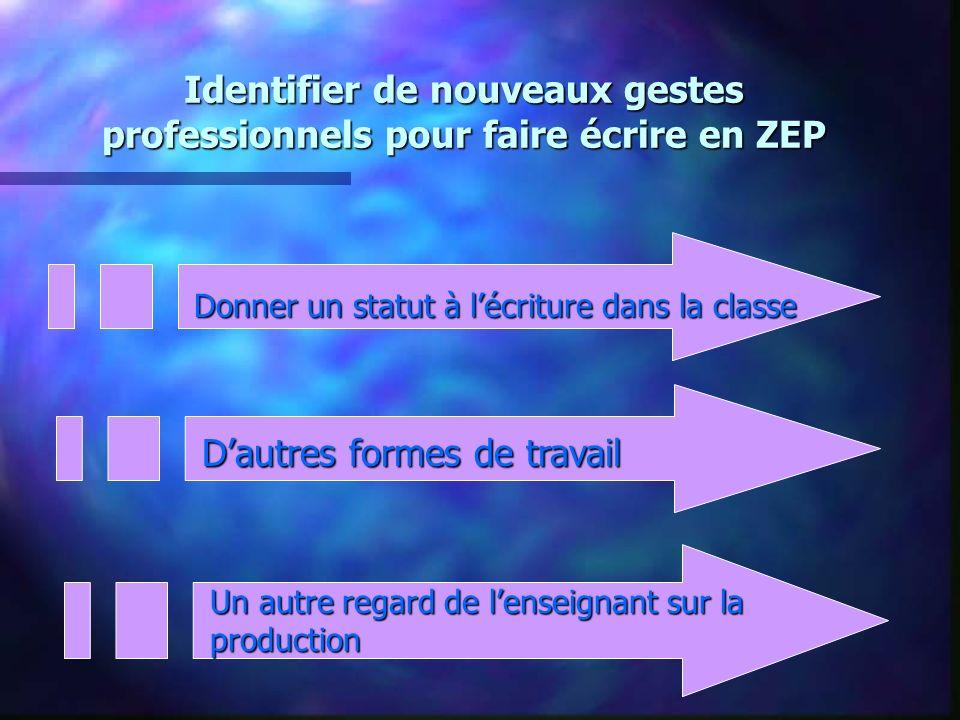 Identifier de nouveaux gestes professionnels pour faire écrire en ZEP