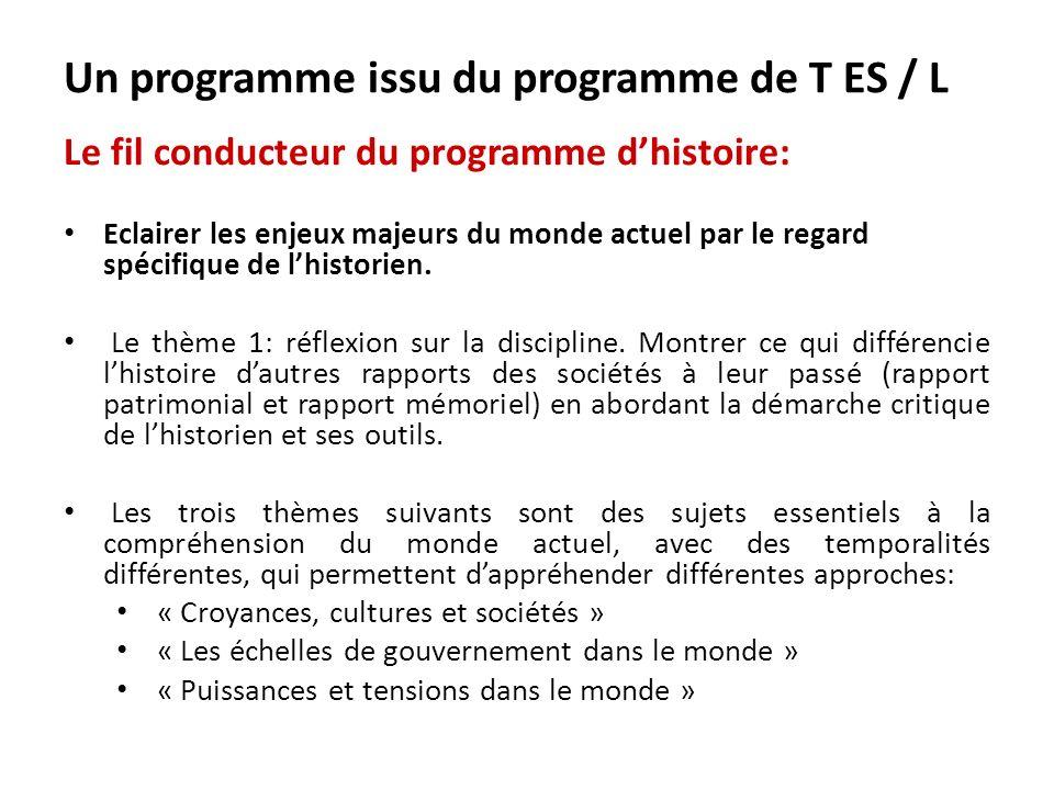 Un programme issu du programme de T ES / L