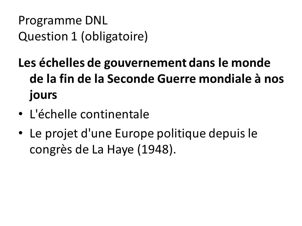 Programme DNL Question 1 (obligatoire)