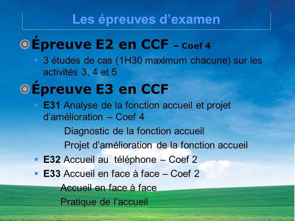 Les épreuves d'examen Épreuve E2 en CCF – Coef 4 Épreuve E3 en CCF