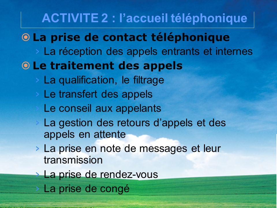 ACTIVITE 2 : l'accueil téléphonique