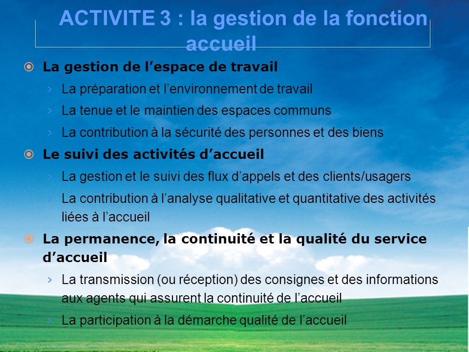 ACTIVITE 3 : la gestion de la fonction accueil