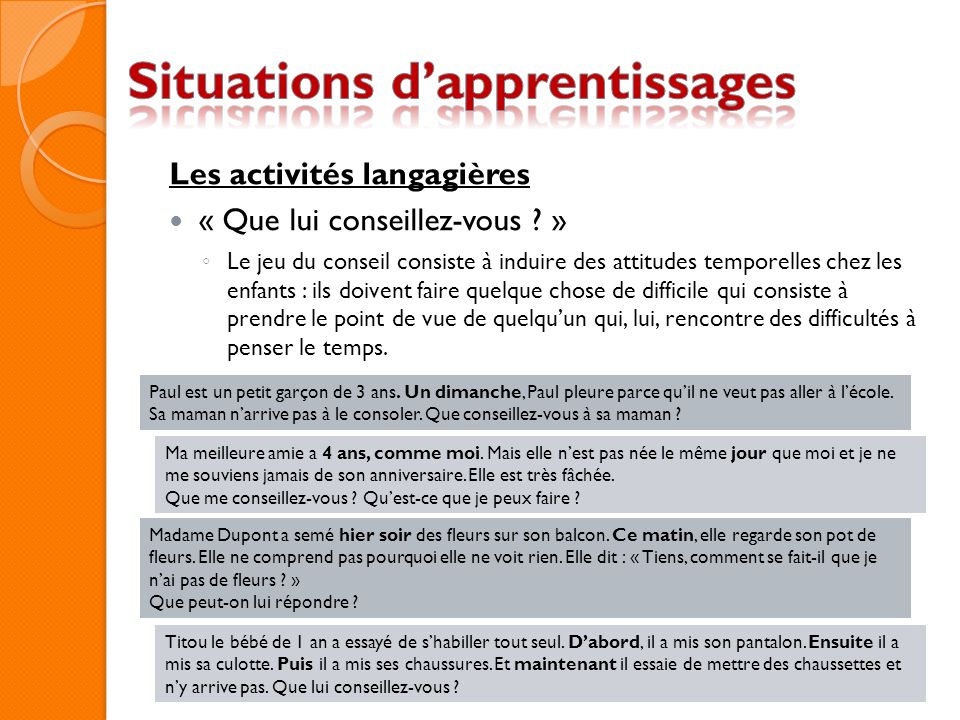 Situations d'apprentissages