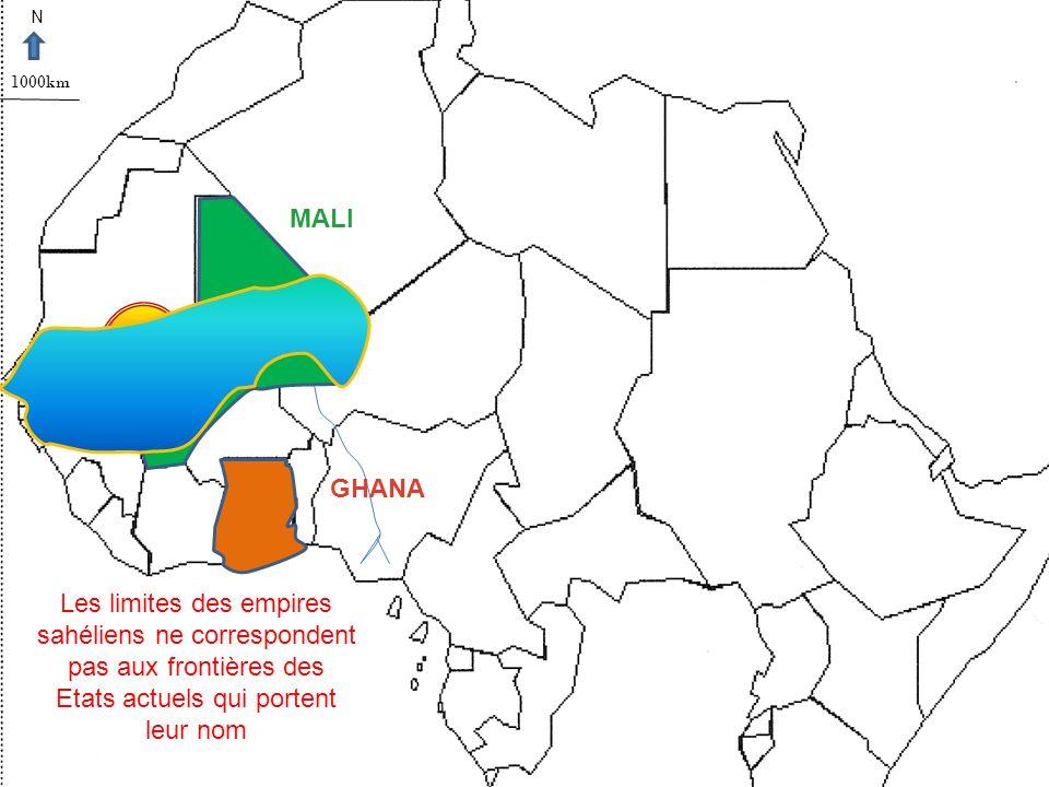 N 1000km. MALI. GHANA.