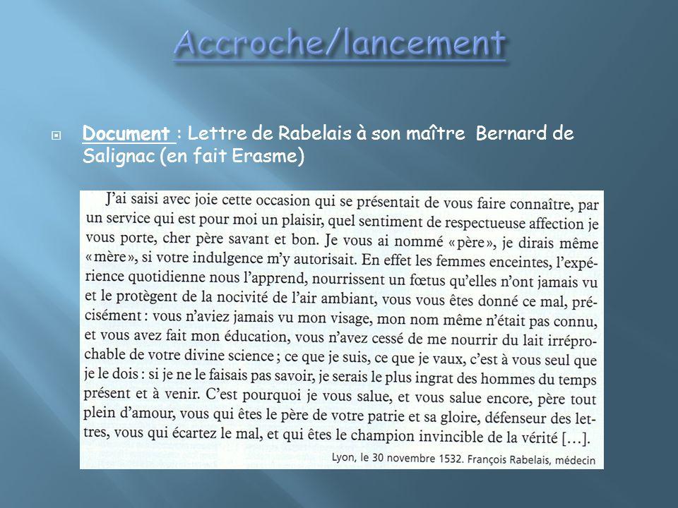 Accroche/lancement Document : Lettre de Rabelais à son maître Bernard de Salignac (en fait Erasme)