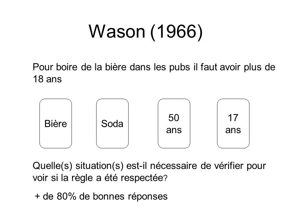 Wason (1966)Pour boire de la bière dans les pubs il faut avoir plus de 18 ans. Bière. Soda. 50. ans.