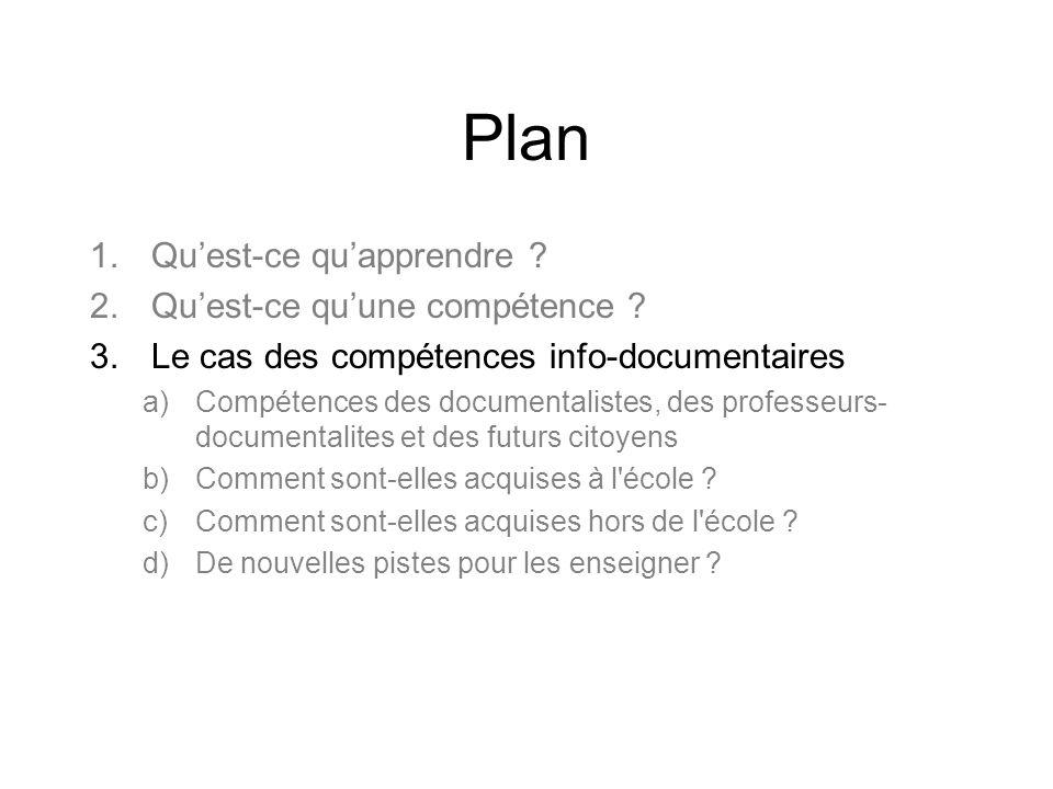 Plan Qu'est-ce qu'apprendre Qu'est-ce qu'une compétence