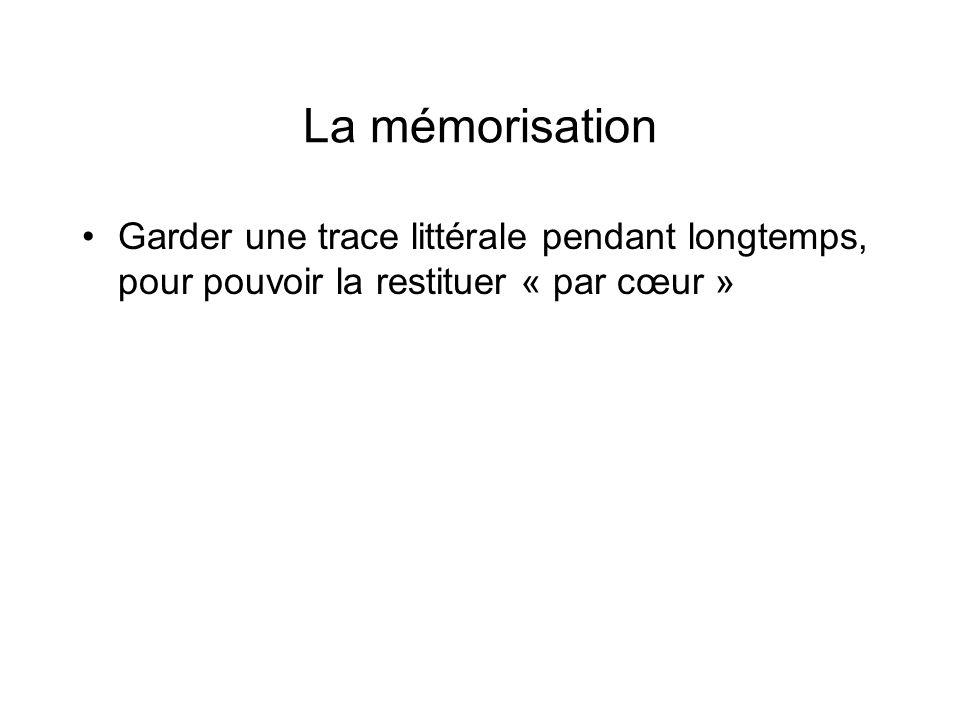 La mémorisationGarder une trace littérale pendant longtemps, pour pouvoir la restituer « par cœur »