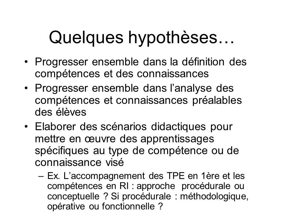 Quelques hypothèses…Progresser ensemble dans la définition des compétences et des connaissances.