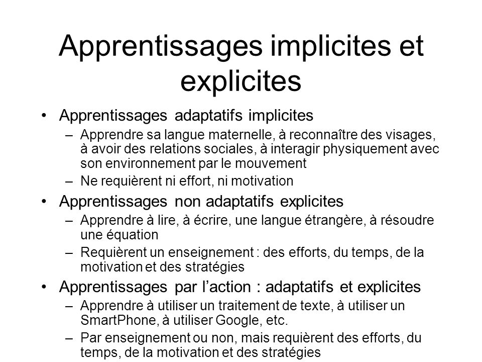 Apprentissages implicites et explicites
