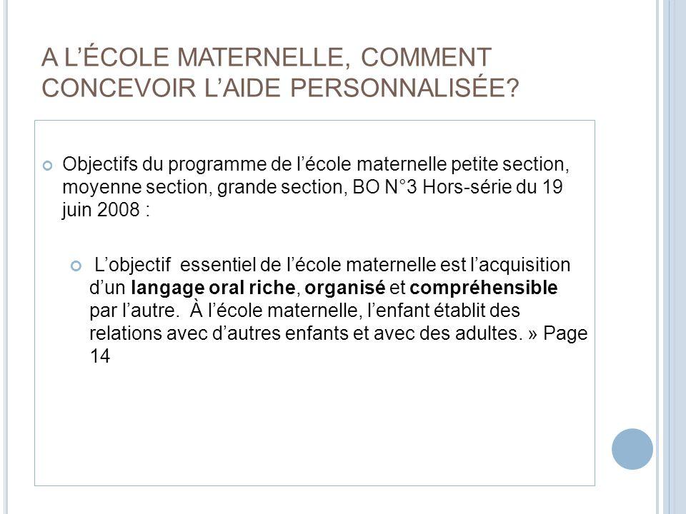 A L'ÉCOLE MATERNELLE, COMMENT CONCEVOIR L'AIDE PERSONNALISÉE