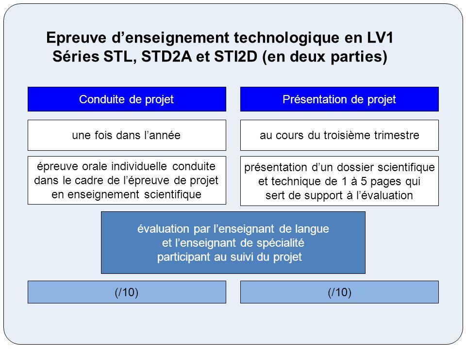 Epreuve d'enseignement technologique en LV1 Séries STL, STD2A et STI2D (en deux parties)