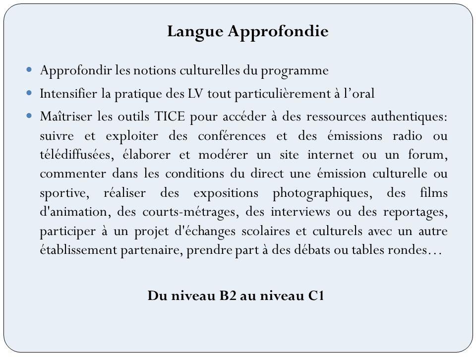 Langue Approfondie Approfondir les notions culturelles du programme