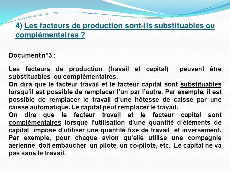 4) Les facteurs de production sont-ils substituables ou complémentaires