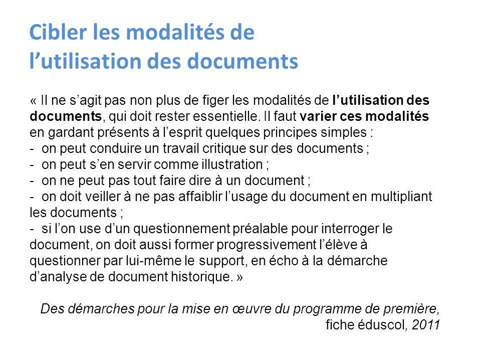 Cibler les modalités de l'utilisation des documents