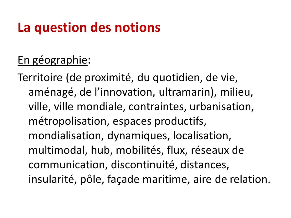 La question des notions