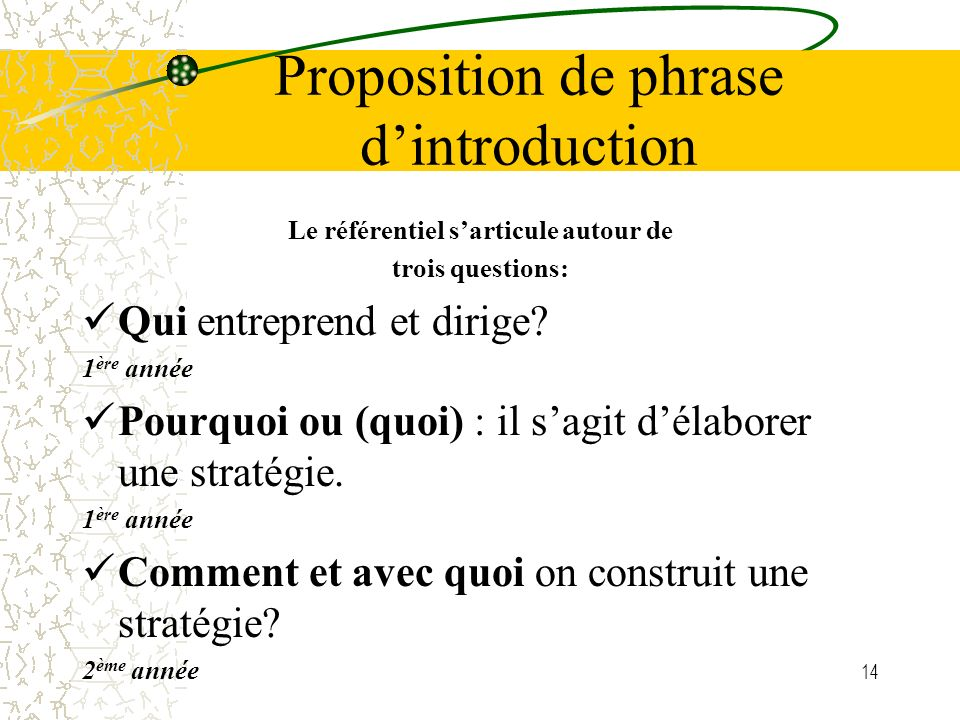 Proposition de phrase d'introduction