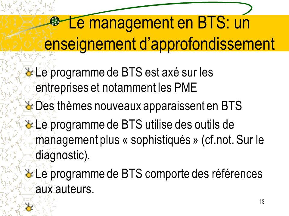 Le management en BTS: un enseignement d'approfondissement