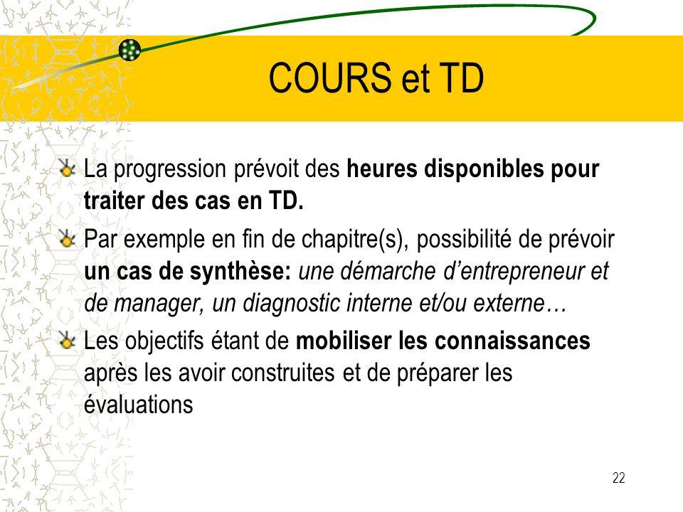 COURS et TD La progression prévoit des heures disponibles pour traiter des cas en TD.