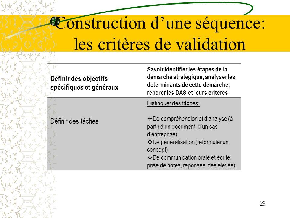Construction d'une séquence: les critères de validation