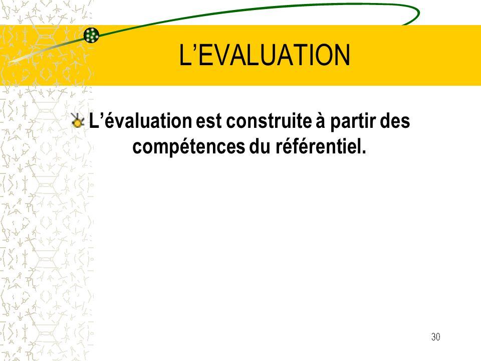 L'évaluation est construite à partir des compétences du référentiel.