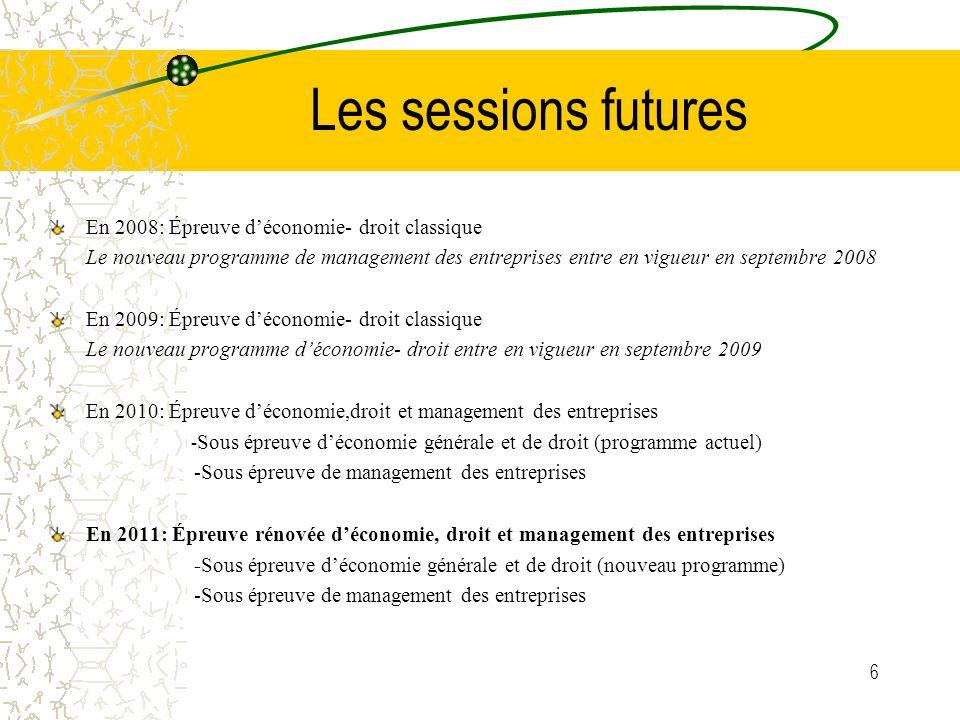 Les sessions futures En 2008: Épreuve d'économie- droit classique