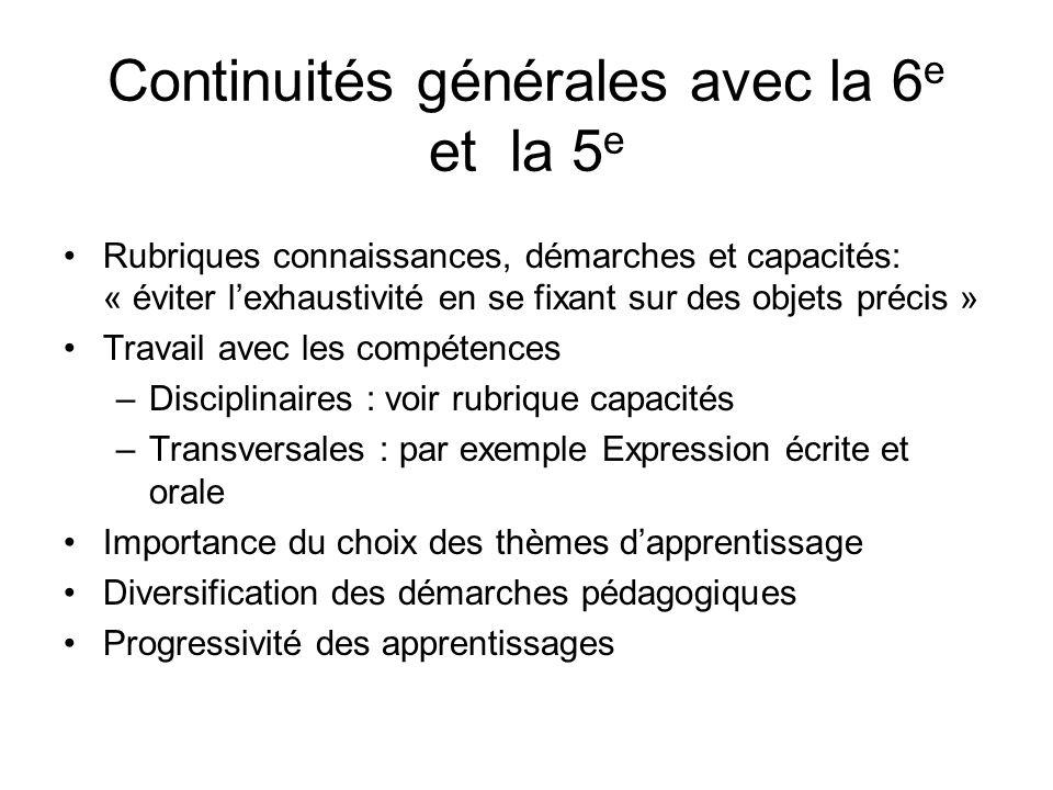 Continuités générales avec la 6e et la 5e
