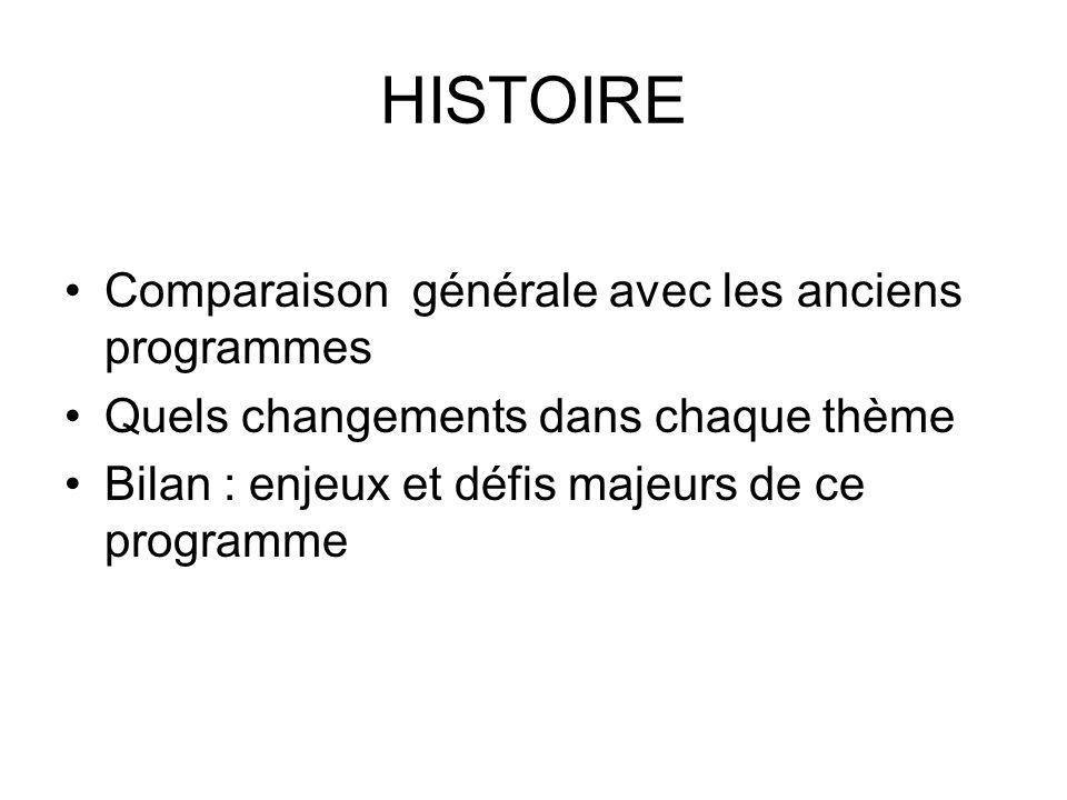 HISTOIRE Comparaison générale avec les anciens programmes